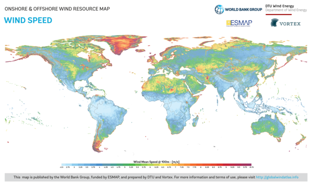 Global Map of Wind Speed